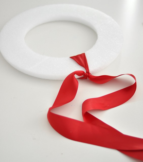 tie ribbon around wreath