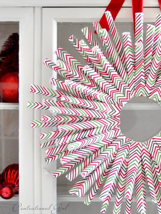 wrapping paper wreath mingle pattern