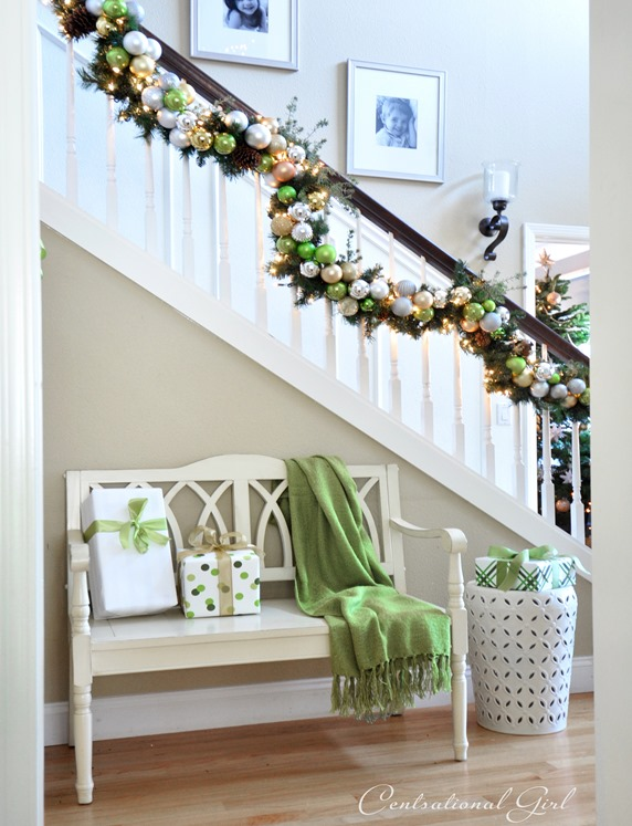 christmas garland and bench