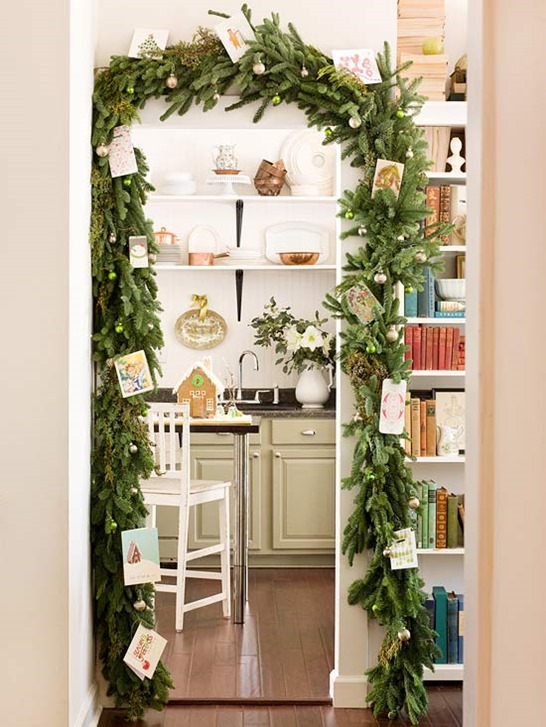 door garland with cards