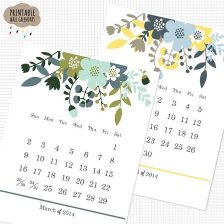 printable wildflowers calendar