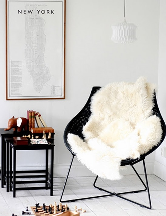 sheepskin rug on chair