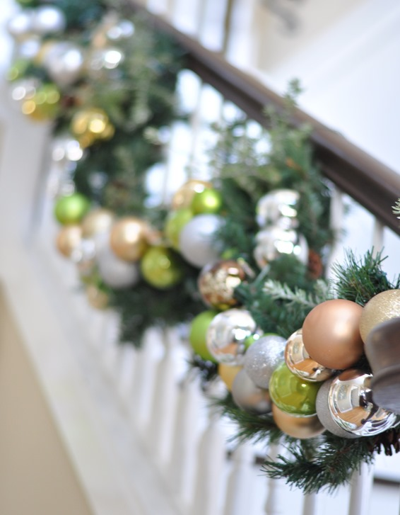 staircase ornament garland