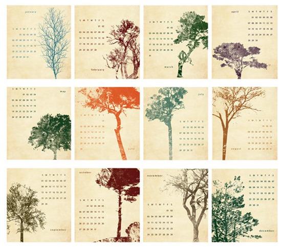 trees desk calendar