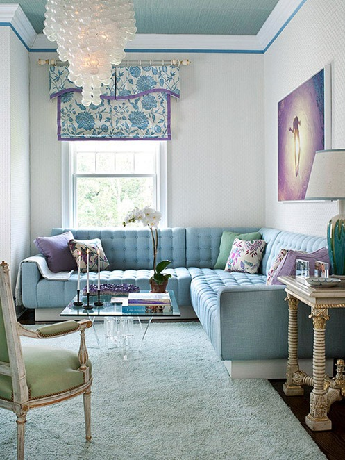 blue and orchid living room
