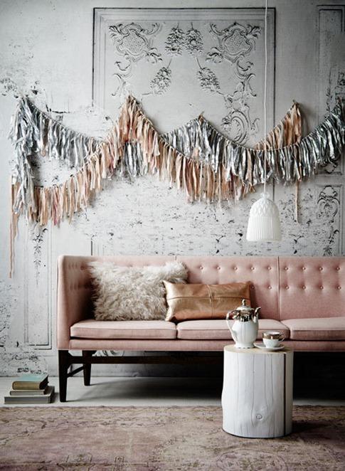 blush pink sofa