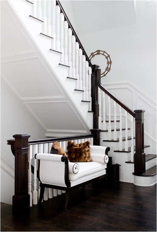 dark stained wood and white entry