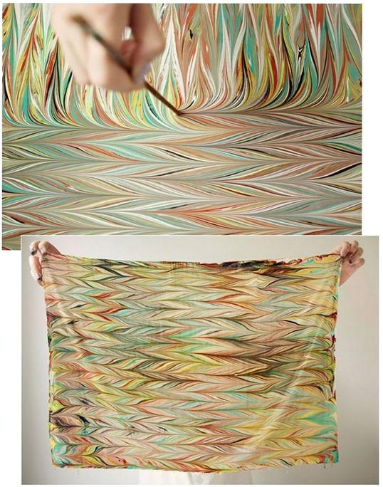 diy marbled scarf