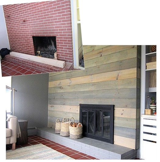 gray plank fireplace makeover