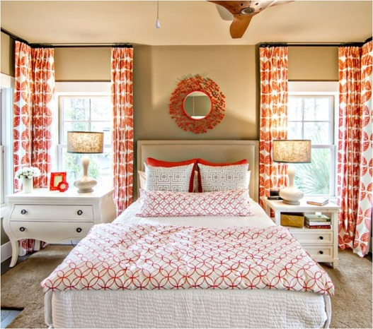 hgtv smart home orange and white textiles