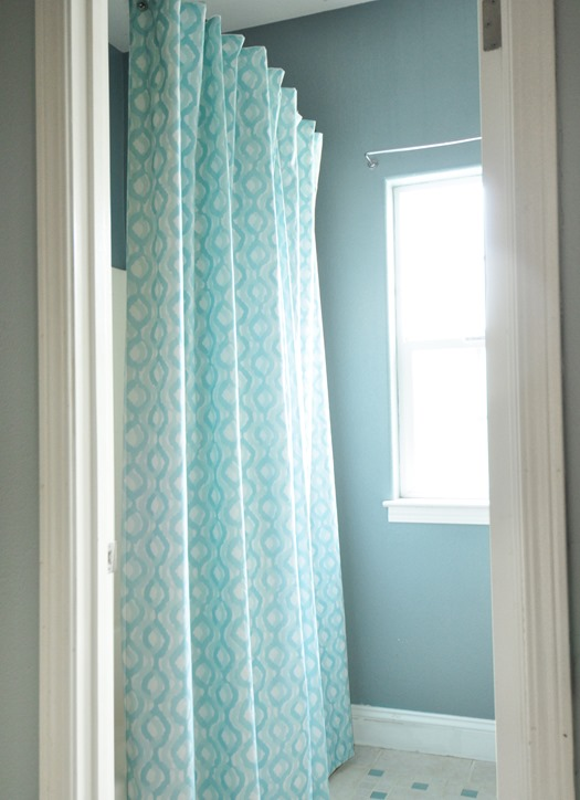 DIY Lined Shower Curtain | Centsational Style