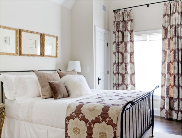 neutral bedroom with mod floral textiles