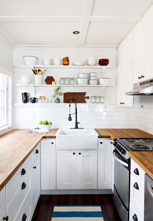 open shelving wood countertops in kitchen