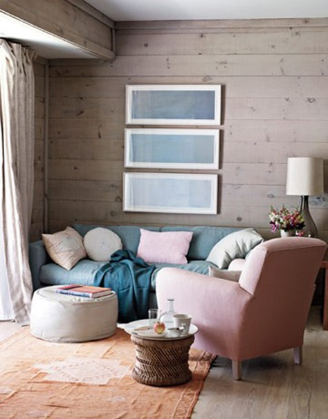 pale furnishings wood walls house beautiful