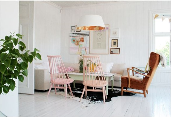 pale pink painted chairs