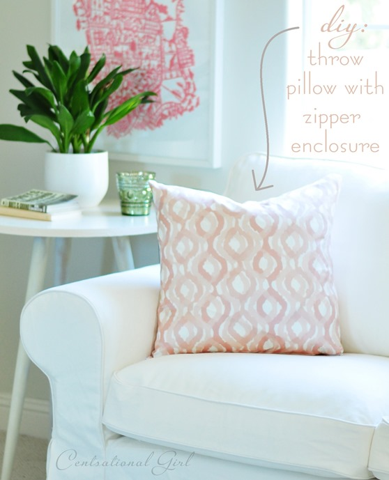 How To Make Zippered Throw Pillow Covers : Easy Throw Pillow Zipper Enclosures Centsational Girl