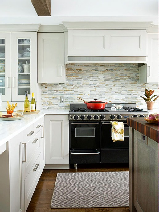 Soft Gray Cabinets Stone Backsplash