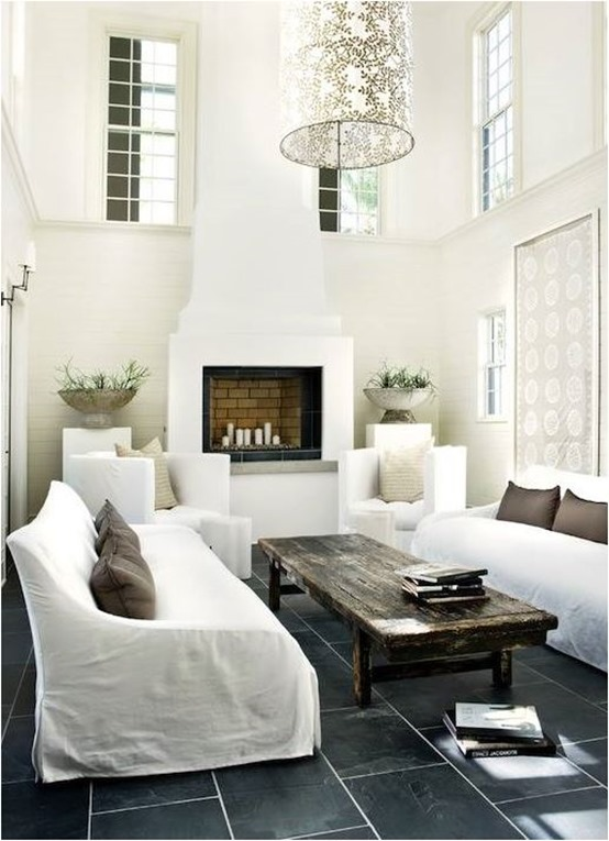 white living room black floor wood coffee table