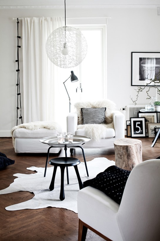white living room wood floors