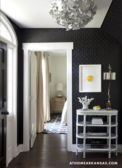 black wallpaper in entry