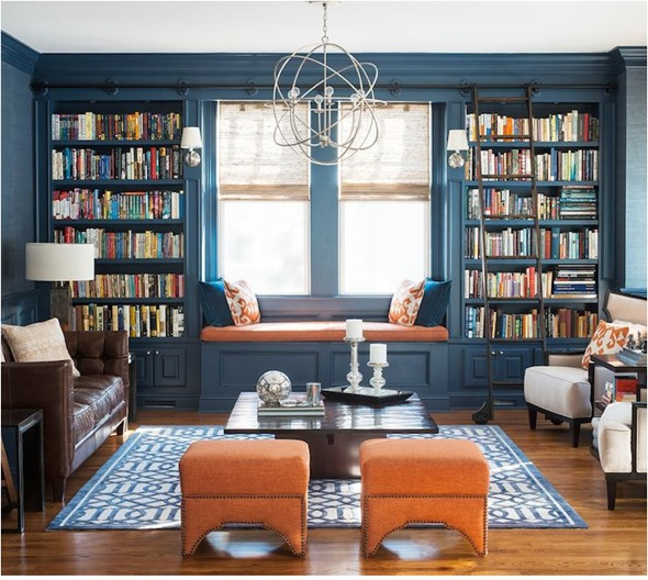 blue painted built ins library cory conner