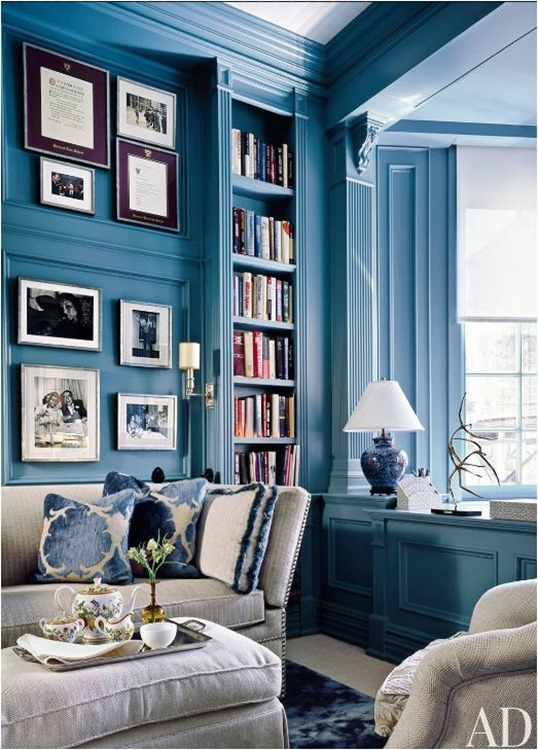 blue painted millwork and built ins