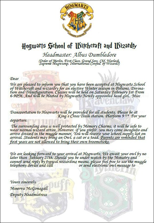 hogwarts acceptance party invitation