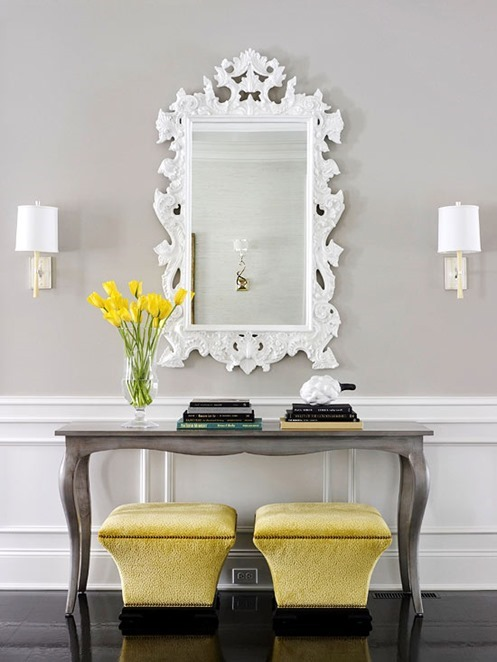 ornate white mirror gray console bhg