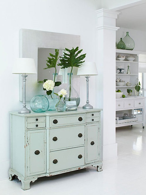 pale blue cabinet in entry bhg
