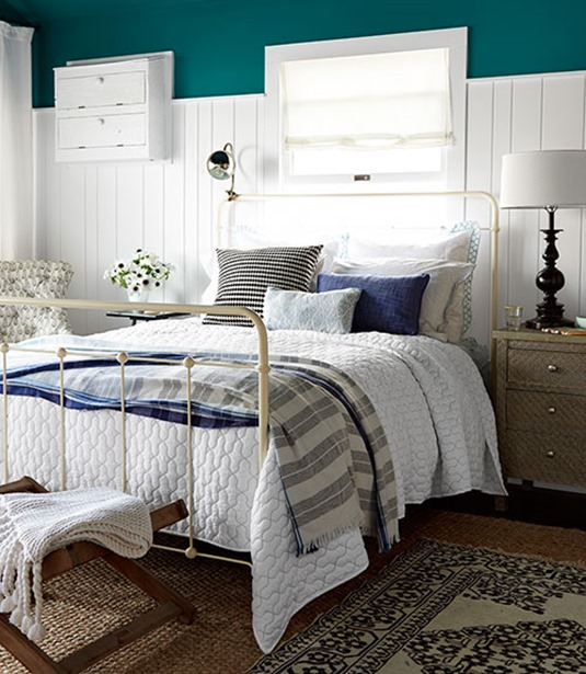teal blue above wall wainscot country living