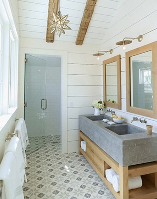 tile floors modern meets cottage bathroom