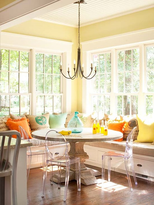 bhg banquette with yellow walls
