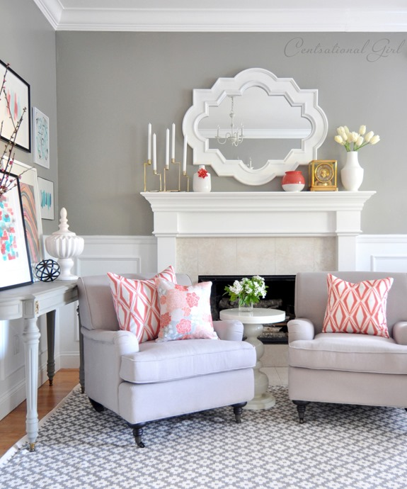 coral gray living room centsational girl