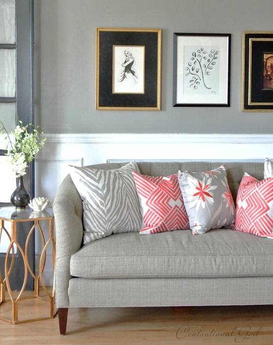gray and coral in living room centsational girl