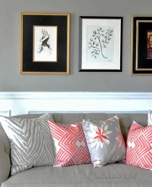 gray and coral pillows centsational girl