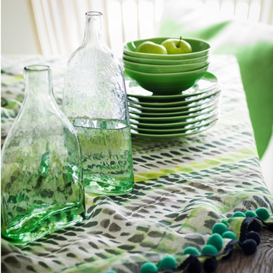 green vases and plates