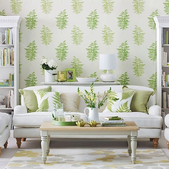 living room fern wallpaper