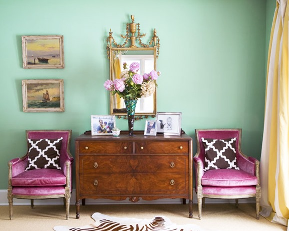 mint green paint orchid chairs