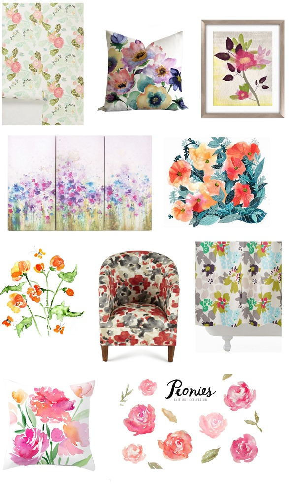 watercolor floral home accents