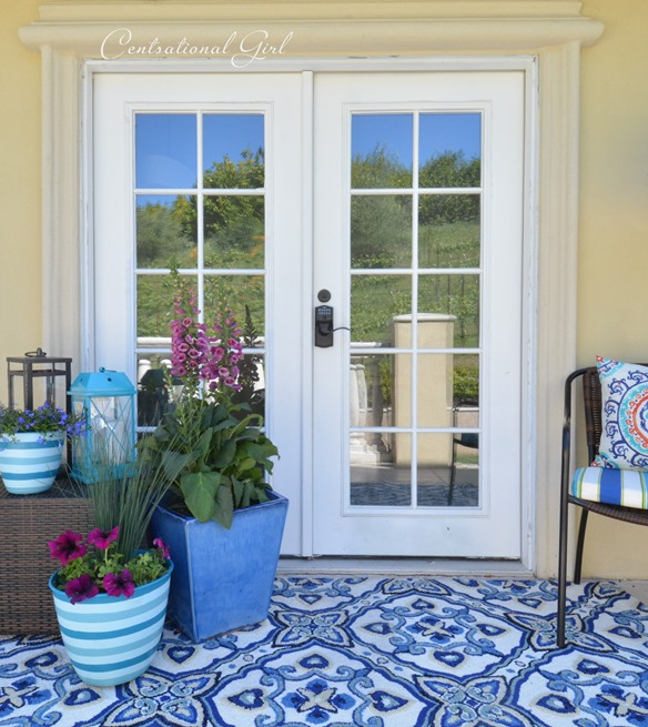 balcony french doors outdoor rug