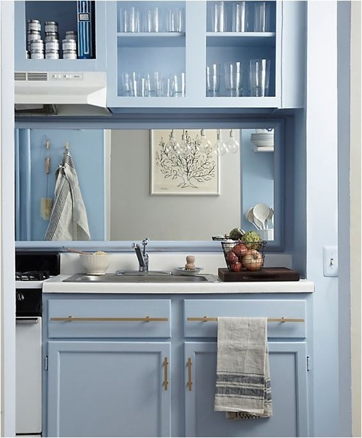 blue and gold kitchen makeover