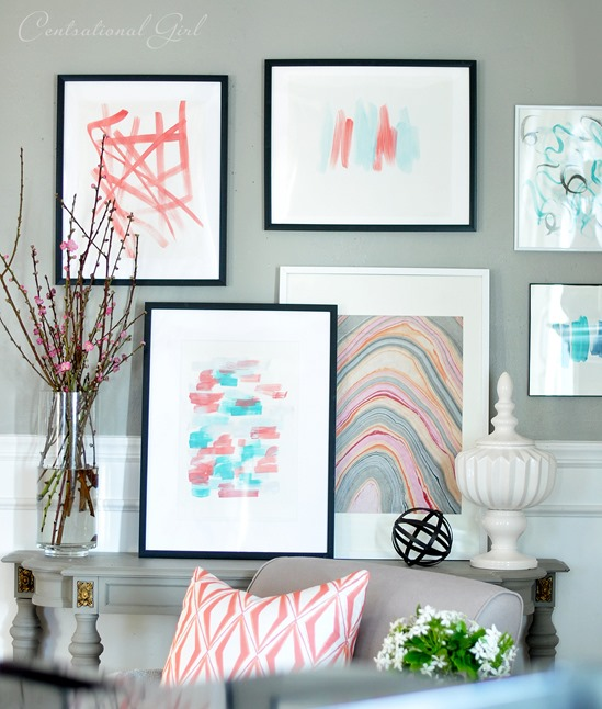 diy art framed marbleized paper