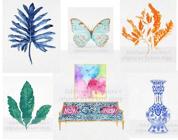 driftwood interiors watercolors