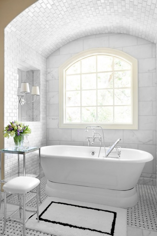 freestanding tub black and white bathroom