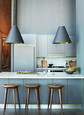 gray kitchen wood stools