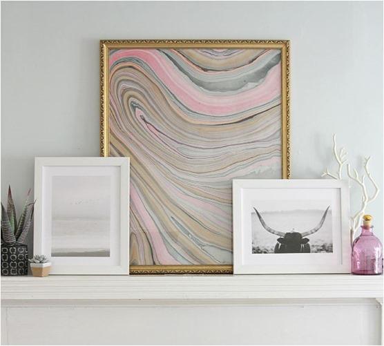 lovely cupboard framed marbled paper