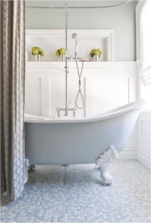 pale blue clawfoot tub