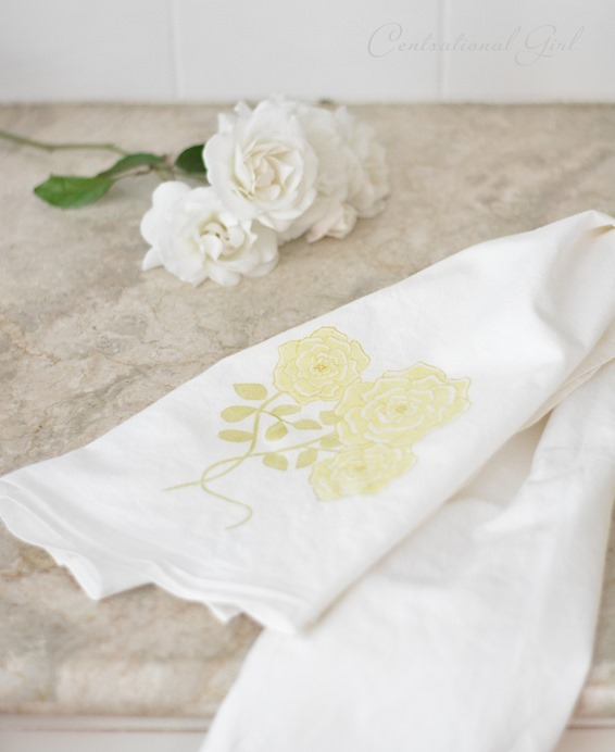 yellow floribunda rose flour sack towel