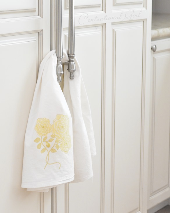 yellow rose kitchen flour sack towel