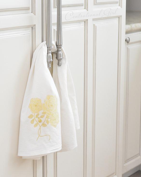 yellow rose kitchen flour sack towel